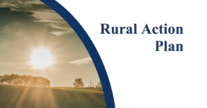 """An image of a sun rising over a field with the words """"Rural Action Plan"""" overlayed."""