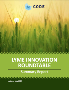 A cover page for a report titled Lyme Innovation Roundtable. The background is a sun rising over a field of grains.
